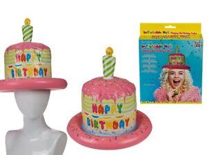 Inflatable Happy Birthday Cake Hat Novelty Joke Party Candle