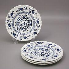 "Set 4 J&G Meakin 7"" Bread Salad Plates Classic White Blue Nordic Onion England"