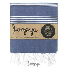 Loopys Navy Blue Premium Turkish Towel Peshtemal Beach Bath Cotton Fouta Hammam