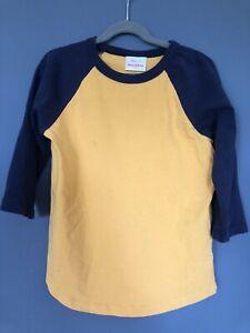 Hanna Andersson Navy Yellow Long-Sleeve Raglan T-Shirt Boys 130 Size 8