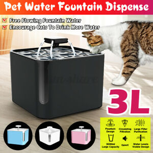 3L Automatic Electric Pet Water Fountain Cat/Dog Drinking Dispenser w/ Filter