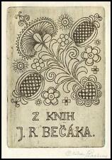 Stastny Ctibor Exlibris C3 Bookplate Folklore Flowers Blumen Feurs Fiori 1458a