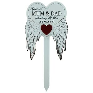 Special Mum & Dad Grave Stick Graveside Memorial Angel WIngs Tribute  Marker