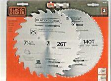 "NEW Black & Decker 2 Pack 7 1/4"" 26T And 140T Piranha Saw Blades 73-017"