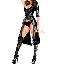 Black Catwoman Leather Wetlook Jumpsuit Catsuit Clubwear Fancy Long Dress