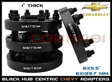 "4Pc Chevy 6x5.5"" Black Hub Centric 1"" Thick Wheel Spacers Adapters 78.1 Hub Bore"