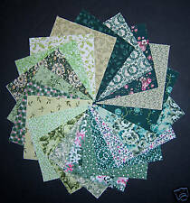 "40 glorious green  4""  Fabric Quilt Quilting Squares"