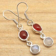 Blue Fire Rainbow Moonstone Handmade Earrings 925 Silver Plated Red Carnelian &