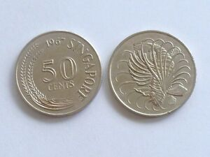Vintage ! 1 pc. of Singapore 1967-1982 Lionfish Cupro-Nickel 50 cents used coin