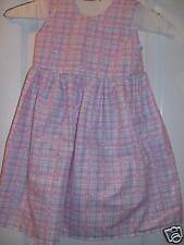 HANDCRAFTED LITTLE GIRL PINK PURPLE PLAID DRESS SIZE 4