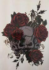 Three Skull Temporary Tattoo Stickers Body Art Waterproof Dark Black Rose