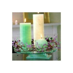 PartyLite P7827 Candle Dew Drop Ring crystal beads green & purple Wreath IN BOX