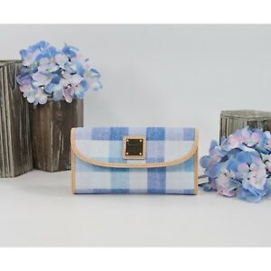 Dooney & Bourke Blue Quadretto Plaid Canvas Natural Leather Trifold Wallet NWT