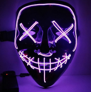 3 Modes Purge LED Mask Light Up Wire Neon Stitches Cosplay Halloween Costume