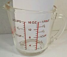 Fire King D Handle  Measure Cup Nice Red Paint #498 Metric  Pressed Glass 2 Cup