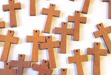 Wholesale Lot of 50 Greek Style Small Wood Crosses, Medium Brown