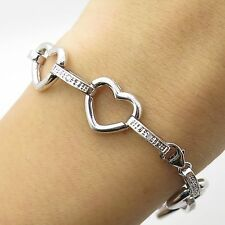 925 Sterling Silver Real Diamond Heart Link Bracelet 7 1/4""