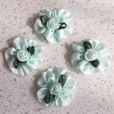 40 Green Satin Ribbon Rose Pearl Bead Flower 30mm Appliques Sew Trim Bow Craft