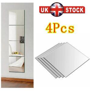 4Pcs 30X30cm Mirror Tiles Wall Sticker Square Self Adhesive Stick On DIY Home UK
