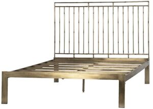 """83"""" Anastasia Bed Queen Iron Antique Brass Finish Slatted Headboard Smooth"""