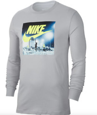 Nike Long Sleeve Shirt Mens Large or XL Gray Authentic Air Basketball Graphic