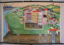 Schulwandkarte Vieux Approvisionnement en Eau Récupération Facilité 118x80cm