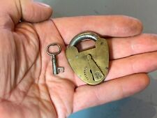 More details for small antique brass padlock+ key milners patent