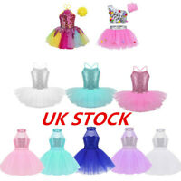 UK Girl Sequin Ballet Dance Dress Tutu Skirt Latin Jazz Dancewear Modern Costume