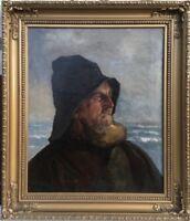 MAX SCHMIDT *1868 - PORTRAIT - FISCHER AM MEER - STETTIN KÖNIGSBERG