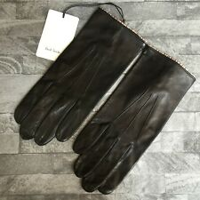 PAUL SMITH BLACK LEATHER GLOVES WITH SIGNATURE STRIPE SIZE S/M MADE IN ITALY