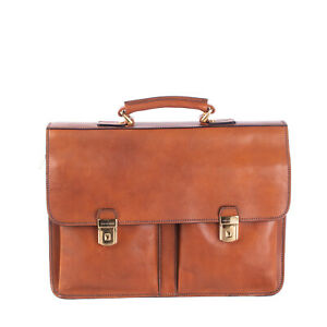 RRP€135 BARANTANI Leather Briefcase Bag Large Grainy Flip Key Lock Made in Italy
