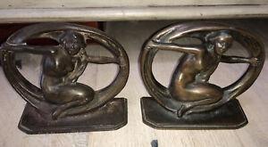 Antique Art Deco Nouveau Flowing Nude  Cast Iron Bronze Copper Finish Bookends