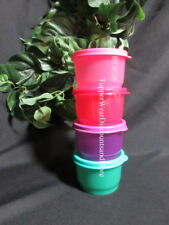 Tupperware NEW SNACK CUP CUPS Set 4 Pink, Red, Green Purple Matching Seals #2
