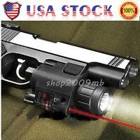 Combo CREE Flashlight+Red Dot Laser/Sight Tactical Weaver Rail For Pistol/Gun US
