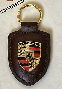 PORSCHE METAL CRESTED LEATHER KEY RING FOB BROWN