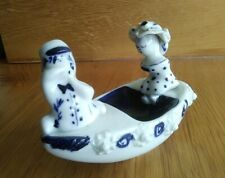 WILFRED GIBSON Cornish Studio Pottery Blue And White Figures in Rocking Boat