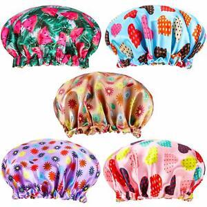 Kids Girls Night Sleep Cap Turban Satin Bonnet Adjustable  Hats Cover 5 pcs/set