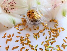 "3D Nail Art Flower ""Petal"" Gold Leaf Oval Shape Holographic Pot Spangles Glitter"