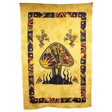 Indian Bedspread - Wall Hanging - Mushrooms and Dragonfly - Brown Cotton