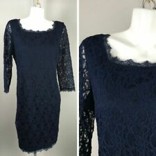 Joseph Ribkoff Navy Blue Floral Lace Long Sleeve Dress Size 14 Cotton Blend