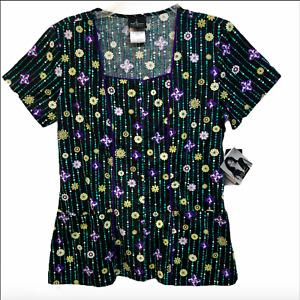 Scrub Shirt Baby Phat Cat Logo All Over Cotton Lady Sz XS Black Purple New