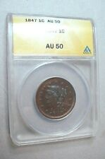 1847 Anacs AU 50 Braided Hair Large Cent - Choice Certified Copper