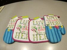 New listing Nwt~Lot of 4 Kitchen Pot Holders & Oven Mitts~ Love is spoken Here~
