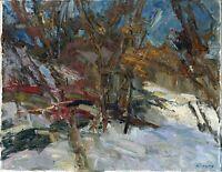 """Russischer Realist Expressionist Öl Leinwand """"Wintertag"""" 50 x 40 cm"""
