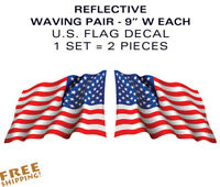 """LARGE PAIR 9"""" REFLECTIVE U.S. Flag Waving stickers-Decals military USA US VINYL"""