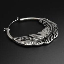Plug Hoops Earrings | Feather Antique Silver Ear Hangers | Pair | SIBJ Quality