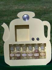 SHABBY Vintage Wooden Teapot Spice Rack Shelf w 6 Jars ~ AM Radio Japan