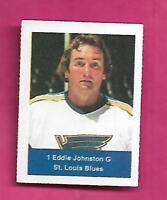 RARE 1974-75 LOBLAWS BLUES ED JOHNSTON GOALIE  STICKER (INV# A7988)