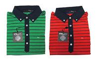 Ralph Lauren RLX Golf Mens Red Green Navy Striped Moisture Wicking Polo Shirt