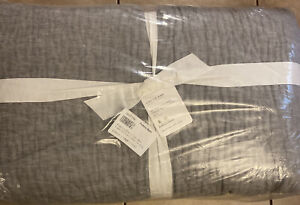 Pottery Barn Belgian Flax Linen Hand Stitched Quilt King/Cal King In Flagstone